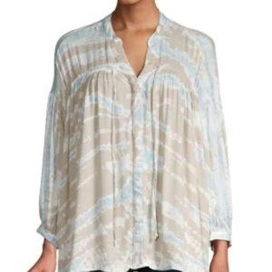 NWT YFB Tie-Front Tie-Dye Long-Sleeve Top